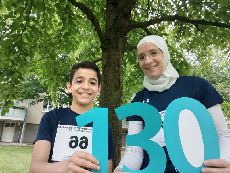 Hallo liebe Volksstimme, herzlichen Glückwunsch zum 130.!  Wir sind mit dabei und laufen jeweils 5 km.  Danke und weiterhin viel Erfolg!  Kaltoum & Islam
