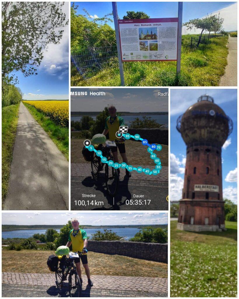 Guten Tag, anbei ein paar Eindrücke von meiner langen Radtour am Pfingstmontag. Ich bin auf dem Radweg R1 zum Concordiasee geradelt und zurück habe ich die kürzeste Strecke genommen. Die 100 km endeten direkt am Wasserturm des Bahnhofes Halberstadt. Es war eine sehr schöne Tour und ich habe 5:35:17 h gebraucht. Die restlichen 19 km in meinem Heimatort Silstedt bin ich von Halberstadt an dem schönen Holtemmeradweg entlang gefahren. Viele Grüße, Dirk L.